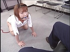 Gagged and leashed office girl tubes