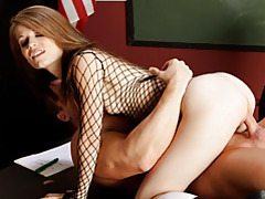 Skinny slut in fishnet top fucked tubes