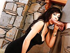 Slut in tight dress sucks cock tubes
