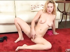Shaved blonde chick masturbates tight pussy tubes
