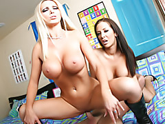 Two busty babes playing tubes