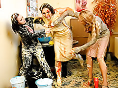 Girls smeared with food tubes