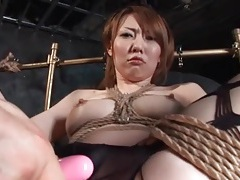 Tied up japanese girl vibrated through pantyhose tubes