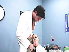 blonde schoolgirl Melanie Jayne lollipops her science profs cock tubes