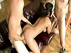 Hot chick rammed hard while giving blowjob tubes