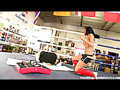 busty kick boxer rammed hard by her coach in the boxing ring tubes