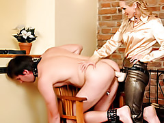 Strapon fucking her slave tubes