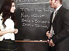 cute brunette Allie sucking her professors hard schlong tubes