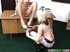 hot teens Tori and Brooke having a lesbian session in the classroom tubes