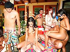 Pool party girls playing tubes