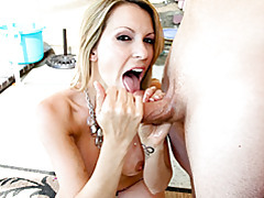 She strokes lubed up cock tubes
