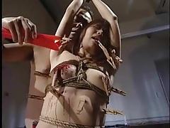 Mummified japanese girl stripped and toyed tubes