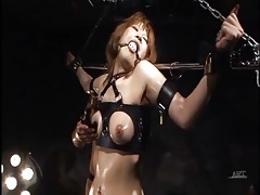 Babe put in erotic bondage and coated in oil tubes
