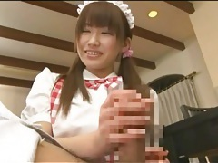 Japanese maid goes down on his cock tubes