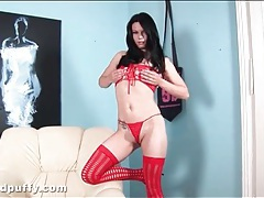 Sexy red stockings and high heels on hottie tubes