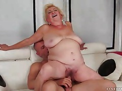 Chubby old blonde fucked in her fat pussy tubes