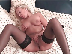 Blonde milf is a total babe in black stockings tube