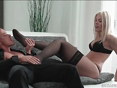 Stockings footjob from blonde arouses him tubes