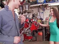 Brunette in slutty dress lets him suck her toes tubes