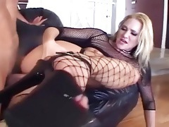 Skinny blonde fucking in sexy fishnet lingerie tubes