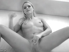 Young blonde finger fucked in her asshole tubes