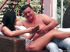 Hot young brunette sucks old man cock tubes