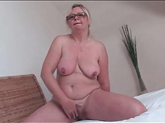 Mature blonde with hairy bush masturbates tubes