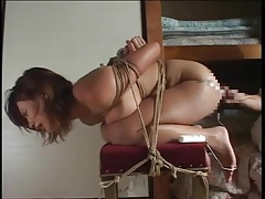 Slut tied up tight and fingered in her pussy tubes