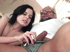 Old guy fucks tight young shaved pussy tubes