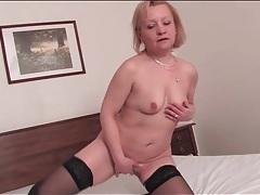 Blonde mature lustily masturbates her vagina tubes