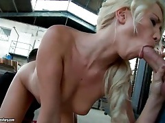 Super tight body slut fucked in warehouse tubes