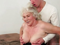 Kissing granny and sucking her sexy tits tubes