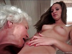 Grey haired granny eats out shaved young pussy tubes
