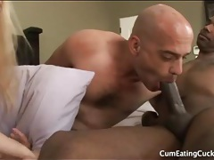 Cuckold sucks black cock fresh from his lady tubes
