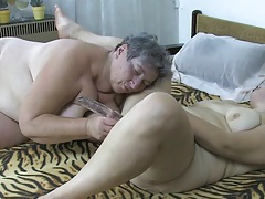 Fat grandma gets hard orgasm with her gf tubes