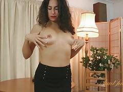 Skirt and stockings on curly hair brunette tubes