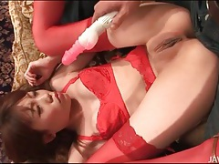 Smooth japanese vagina filled by vibrator tubes