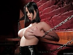 Kinky brunette dildo fucks her box in dungeon tube