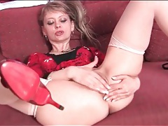 Mature in heels and stockings fingers pussy tubes