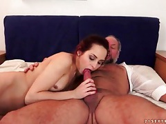 Slut rides old guy dick and masturbates tubes