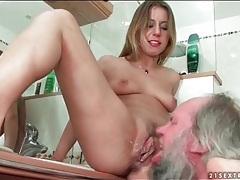 Grandpa eats his creampie out of nikky thorne tubes