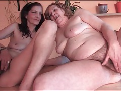 Horny grannies in lesbian fondling video tubes