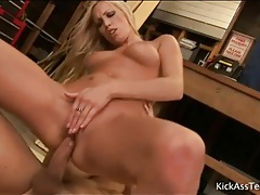 Lean young blonde sits on his cock lustily tubes