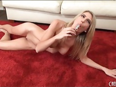 Slender blonde with little tits masturbates tubes
