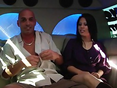 Asian sucks dick in the party limo tubes