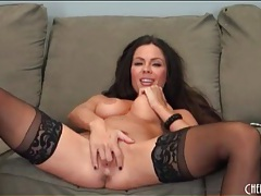 Hottie in stockings and heels fucks pussy tubes