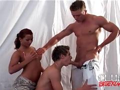 Girl sucks hard dick as the guys kiss tubes