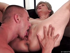 Granny pussy licked and fucked by young man tubes