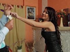 Brunette stars in sensual striptease and fingering tubes