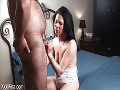 Fat hairy dude fools around with hot milf tubes